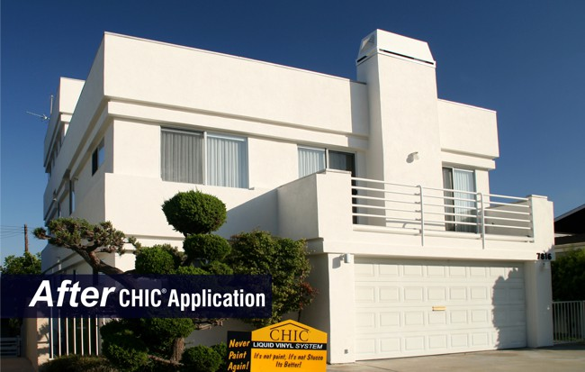 Stucco protected with CHIC Liquid Vinyl Permanent Coating.