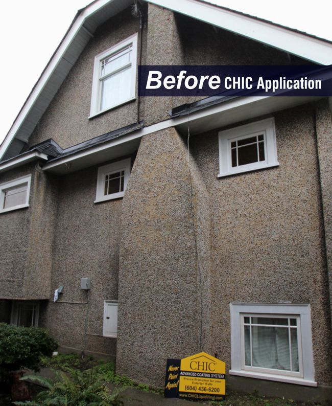 Rock Stucco was degrading on this home, and the rocks were falling off.  CHIC stabilizes the surface, we seal the cracks, and provide a lifetime warrantee.