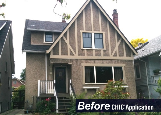 CHIC restores Dash Stucco, which gets crumbly and porous over time.  We repair the texture, seal the cracks, and apply our 3 coat system over all portions of the wall system.