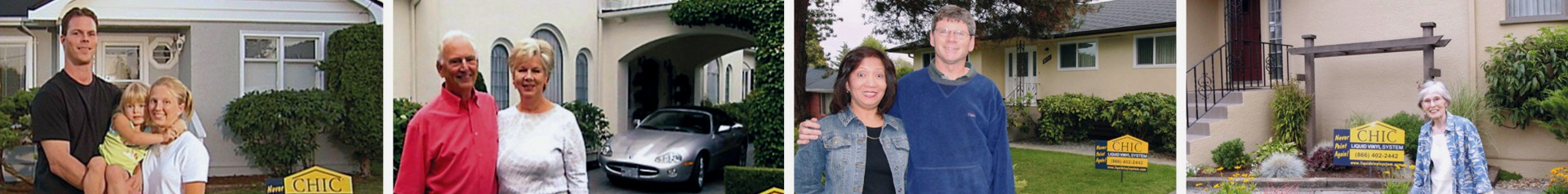 Valued CHIC Advanced Coating customers posing for photos in front of their homes.